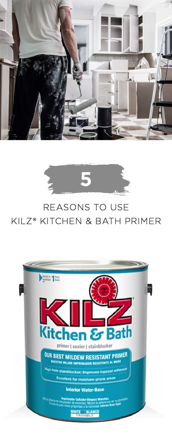 Use KILZ Kitchen & Bath Primer to protect a variety of surfaces in the high-humidity rooms of your home. This superior primer, sealer, and stain blocker offers excellent paint adhesion and mildew resistance so you can enjoy your home for years to come. Check out KILZ collection of products to see how you can begin improving your home today.