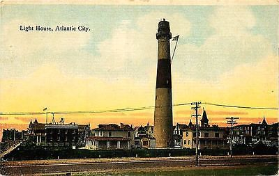 Atlantic City New Jersey NJ 1911 Absecon Lighthouse Sunset Vintage Postcard