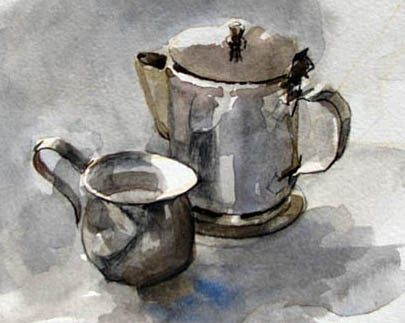 Here's a little watercolor study that I made while waiting for breakfast at the local diner.     A good thing to keep in mind when painting ...