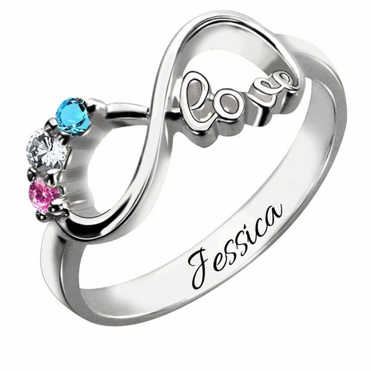 Three Birthstone Infinity Love Silver Ring