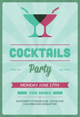 Cocktail parties free printable invitations and for Cocktail party invite template