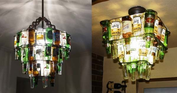 Beer bottle chandelier. - 21 Insanely Cool DIY Projects That Will Amaze You