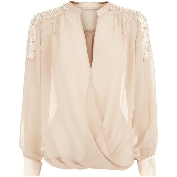 Nude Wrap Chiffon Blouse (£150) found on Polyvore