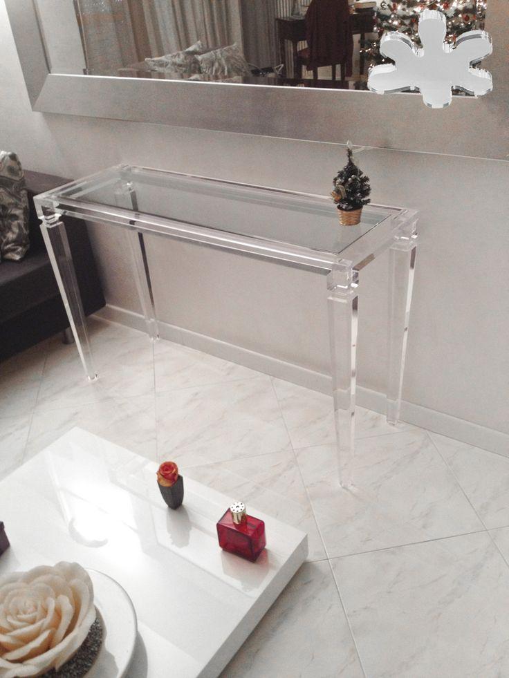 Acrylic interiors - Acrylic console table lucite - CONSOLLE IN PLEXIGLAS | Consolle in plexiglas 01.mod. LV1 | Consolle plexiglass cm.120 x 40 h.80 - telaio sp.mm.40 - gamba sez.mm.60  #lucite #design #homedecor #acrylic