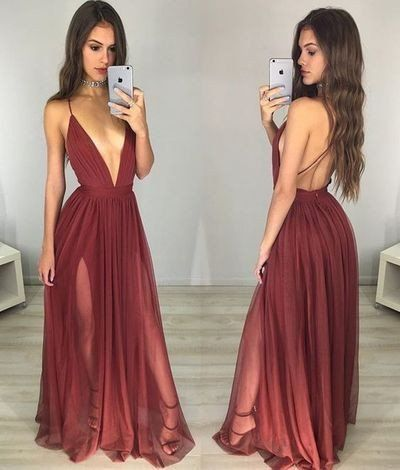 Long Wine Red Sexy Deep V-neck Backless Evening Dress With Slits, PS290 from romanticdress