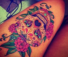 Day of the Dead tattoo- Like the tattoo, hate the placement.