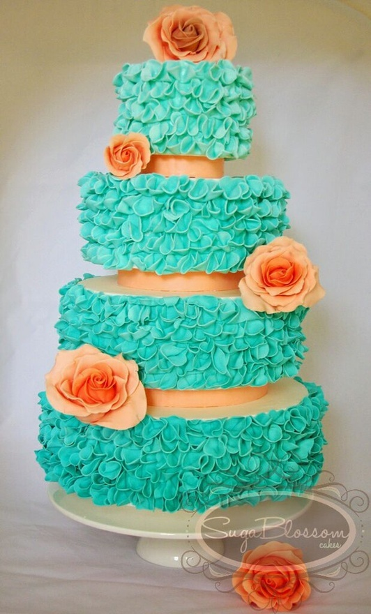Aqua Peach Wedding Cake Like These Colors Together Nickys
