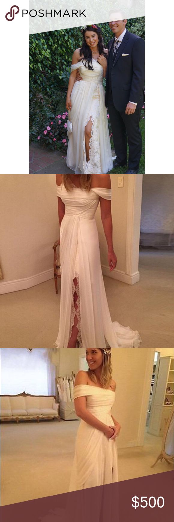Gorgeous Wedding Dress!! Size 4. Silhouette A-lime. Material is Chiffon, Lace, and Satin. Dresses Wedding