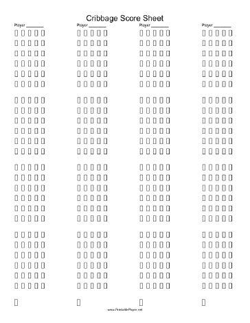 Printable Cribbage Score Sheet. This score pad makes it