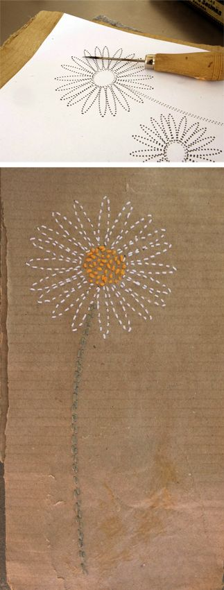 Carta de flores Imprime las flores para pinchar los agujeros en el papel que quieres usar para tu carta. Flowerletter Printflowers to prick holes in the paper...