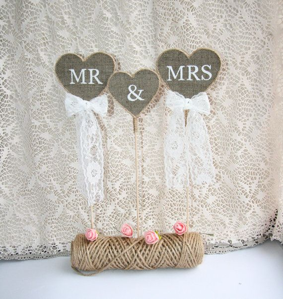 Rustic wedding cake topper Mr & Mrs Cake Topper by FriendlyEvents