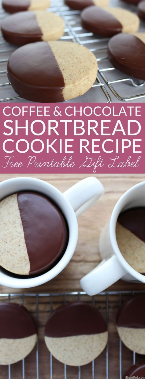 This Coffee and Chocolate Shortbread Recipe is perfect for Valentine gifts!. Simple chocolate dipped mocha shortbread cookies are beautiful and tasty. Includes free printable gift tags for coffee lovers.