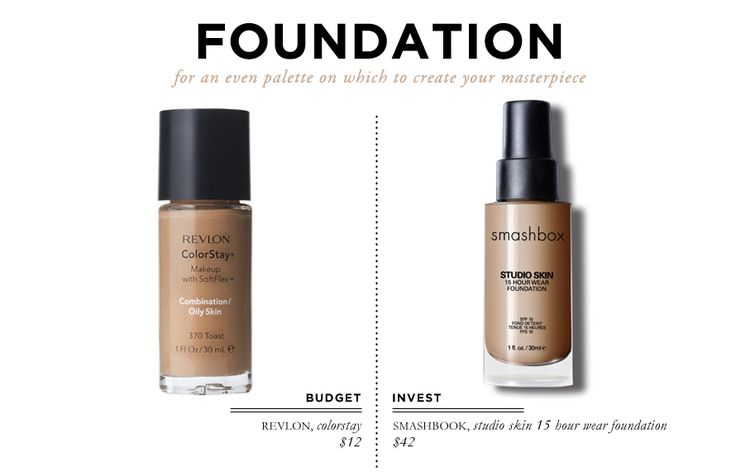 18 Beauty Essentials for The Everygirl: Foundation // Revlon Colorstay $12 // Smashbox Studioi Skin Foundation $42