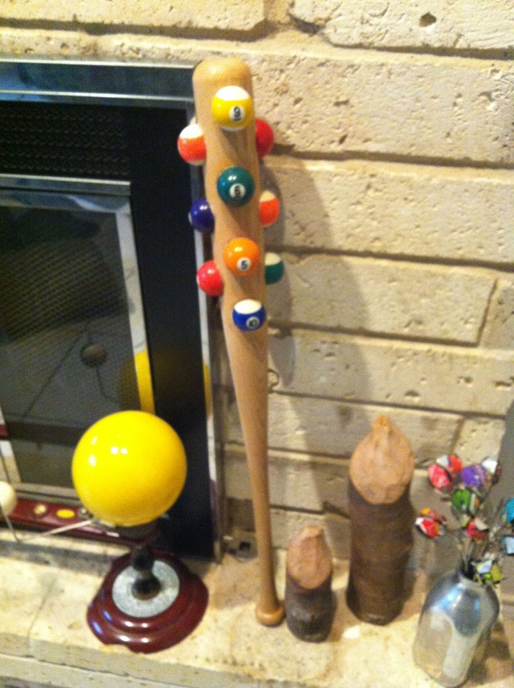 The pool ball baseball bat was my youngest son's idea. It looks like it would belong to Fred Flintstone if he was a pool shark.: Ball Baseball, Pools Ball, Bar Ideas, Baseball Bats, Fred Flintstone, Baseb Bats, Sons Ideas, Pools Sharks, Wicked Games