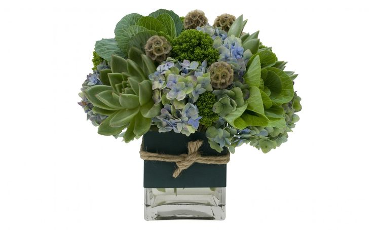"4""x6"" Vase with antique green Hydrangea, cut Eschevaria, Pods and KALE (and you thought it was just for eating :)"