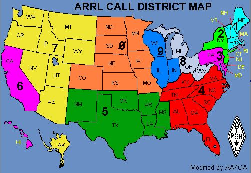 Ham Radio USA Call Area Map