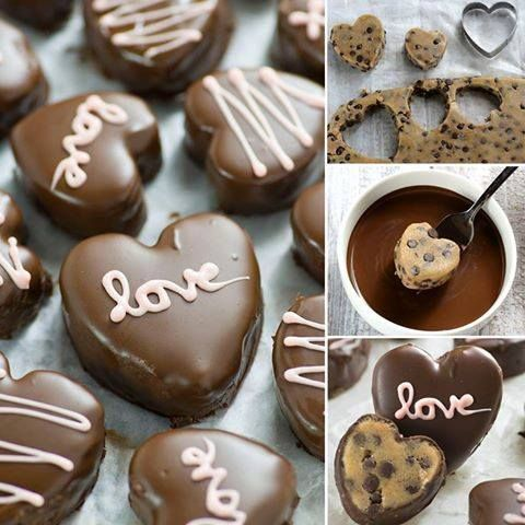 CHOCOLATE CHIP COOKIE DOUGH VALENTINE HEARTS...wow! These look fantastic & so easy to make!!