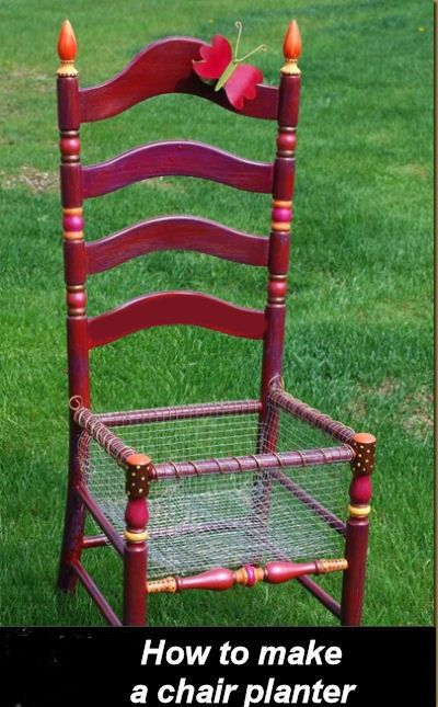 How adorable would this be full of beautiful fall colors?!?!?!?! How To Make a Chair Planter -
