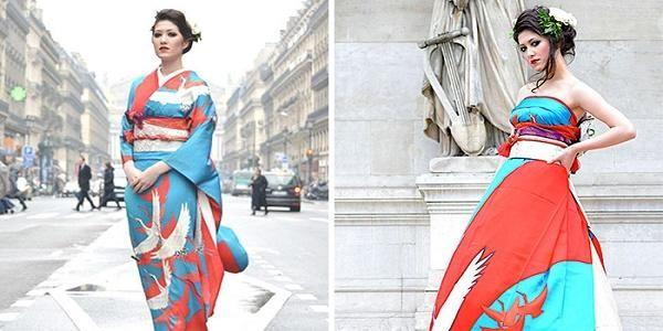 Kimono tradizionali riciclati per creare splendidi abiti da sposa (FOTO)