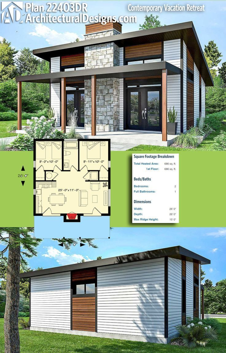 Modern House Plans Architectural Designs Modern House Plan 22403dr Gives You 680 Square Feet Of He Dear Art Leading Art Culture Magazine Database Modern House Plans