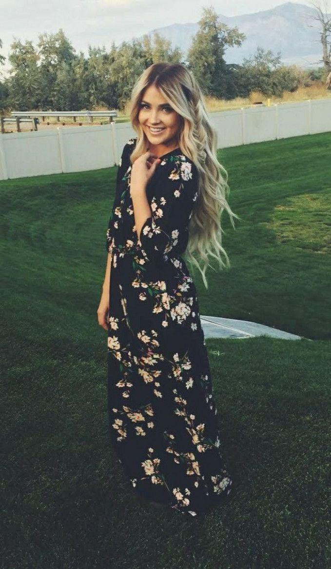 17 Kleid Schwarz Blumen in 17  Sommer kleider, Schwarzes kleid