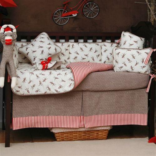 pink and gray damask baby crib bedding sock monkey