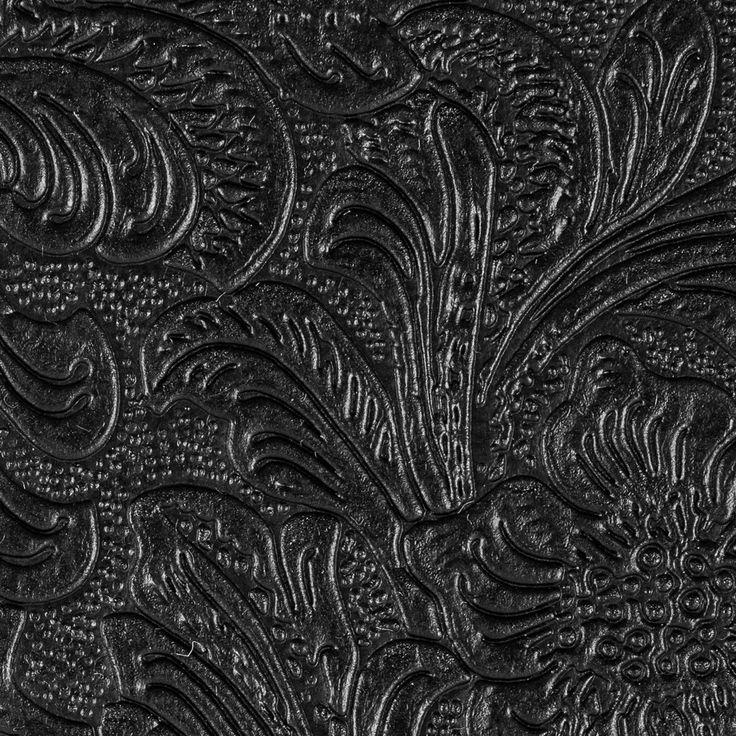 Black Floral Embossed Vinyl | Embossed fabric, Vinyl ...