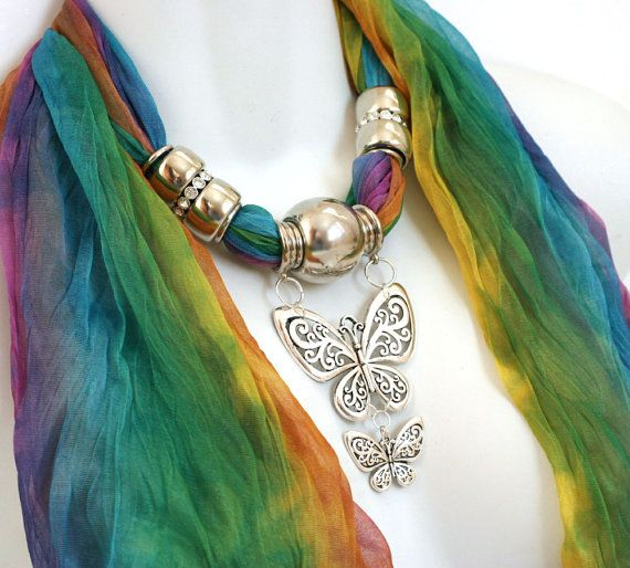 Scarves With Silver Jewelry Butterfly by RavensNestScarfJewel