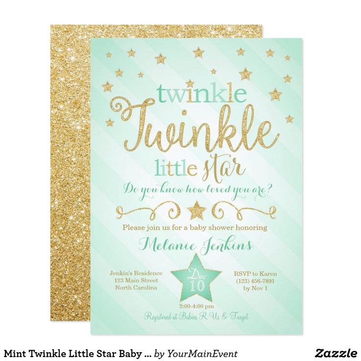 adorable gender neutral mint and gold twinkle twinkle little star baby shower invitations