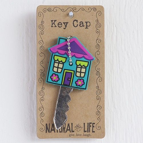 Purple House Key Cap - Bright rubber key cap in groovy house design with ball chain key ring. Fits standard keys