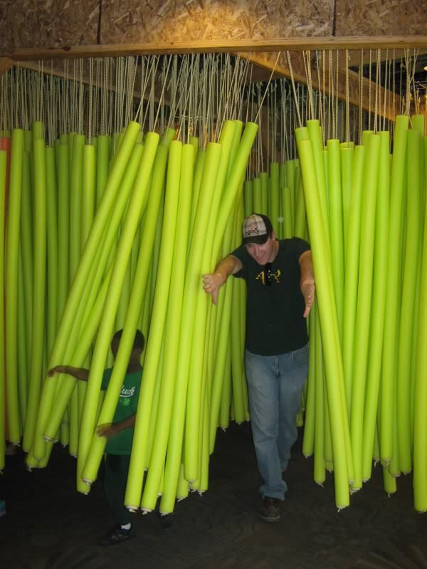 Swimming noodle / Aqua noodle carwash/haunted house obstacle! Swimming noodles available at http://www.bishopsport.co.uk/swimming-accessories/aqua-noodle.html
