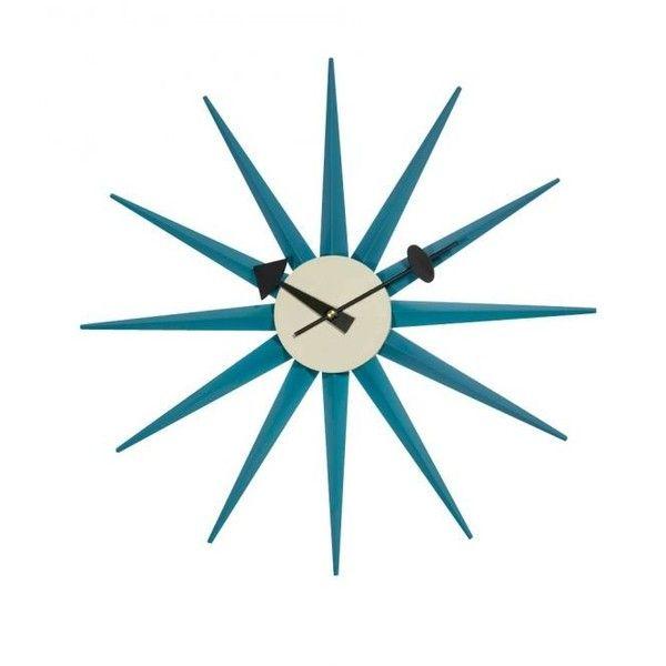 Replica George Nelson Sunburst Clock ($57) ❤ liked on Polyvore featuring home, home decor, clocks, sun burst clock and sunburst clock