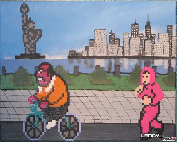 Mike Tyson's Punch-Out!! Jogging scene nintendo entertainment system 16x20 custom hand painted canvas ready to hang painting perler custom#pixelart #perlerbeads #perler #perlerart #beadart #perlerpainting #gamer #gameroom #gamerart #videogameart #90s #90skid #retro #retrogamer #igerspixelart #igersnintendo #ninstagram #snes #supernintendo #nintendolife #mario #babymario #yoshi #supermarioworld2 #yoshisisland #oldschoolgaming #beadsprites #geekart #goodwillfinds #thriftstorefinds