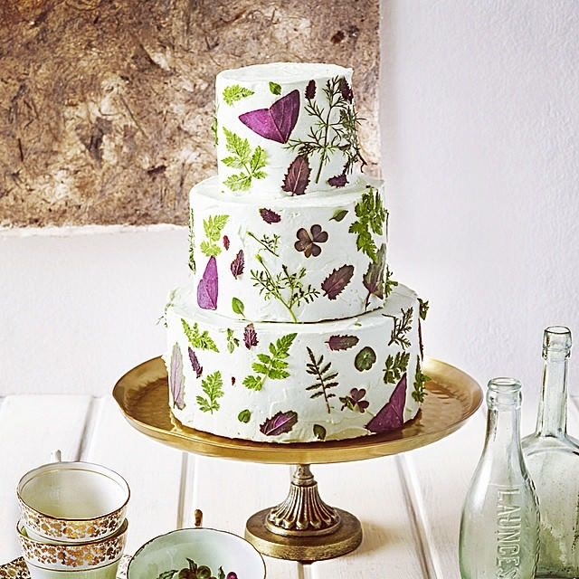 Cakes With Leaves   Google Search · Wedding Cake Edible FlowersReal ...