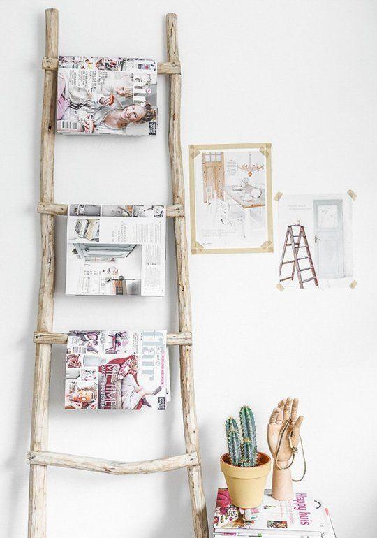 Nos encanta la idea de dar a los objetos que tenemos en casa un uso diferente al habitual. En Apartment Therapy nos proponen 13 buenas ideas para dar una nueva vida a cualquier escalera que tengamos en casa.  #decoración #ideas #interiores #hogar #escaleras #DugarHome