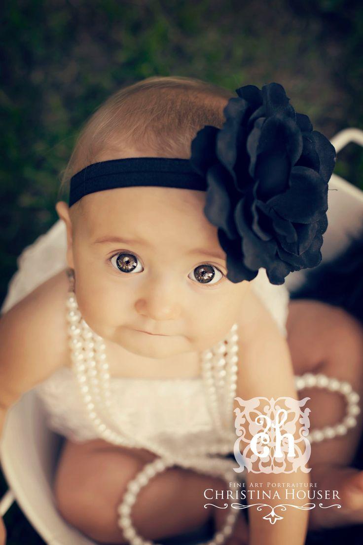 Baby Headband Black Silk Flower With Rhinestone Center On