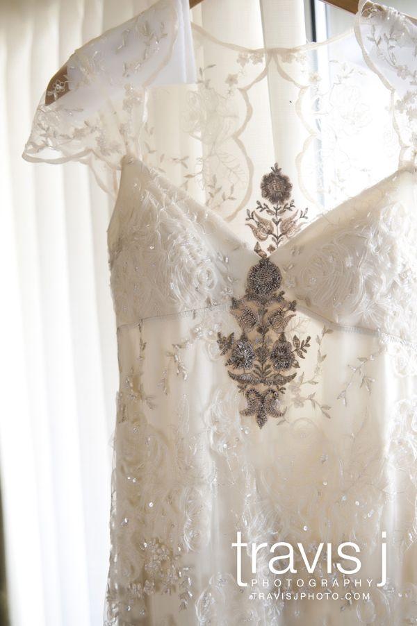 Vintage Wedding Dress Lace Beading Sleeves Travis J Photography Colorado