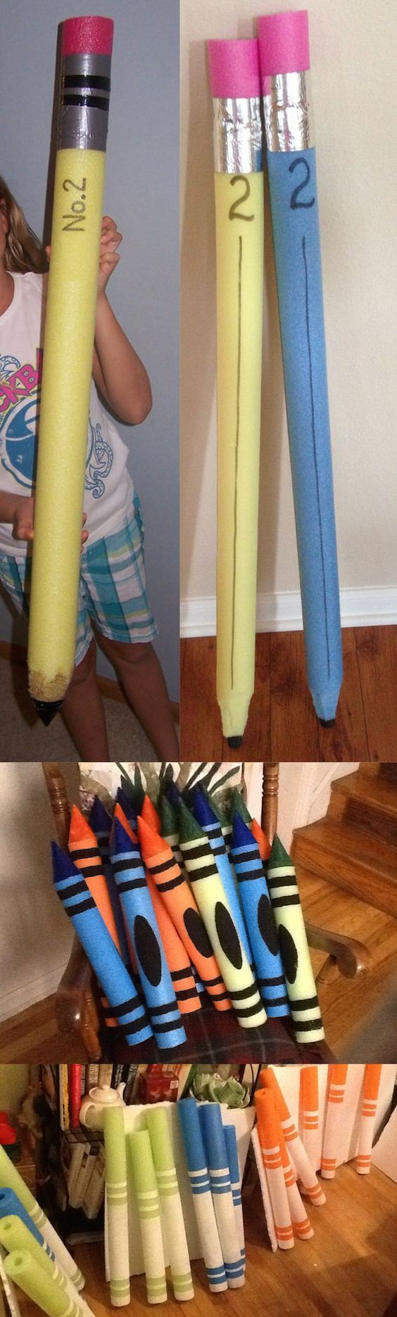 How to make GIGANTIC pencils, crayons, and markers with pool noodles!  These are perfect for back to school pictures, classroom decorations, parties, and so much more.