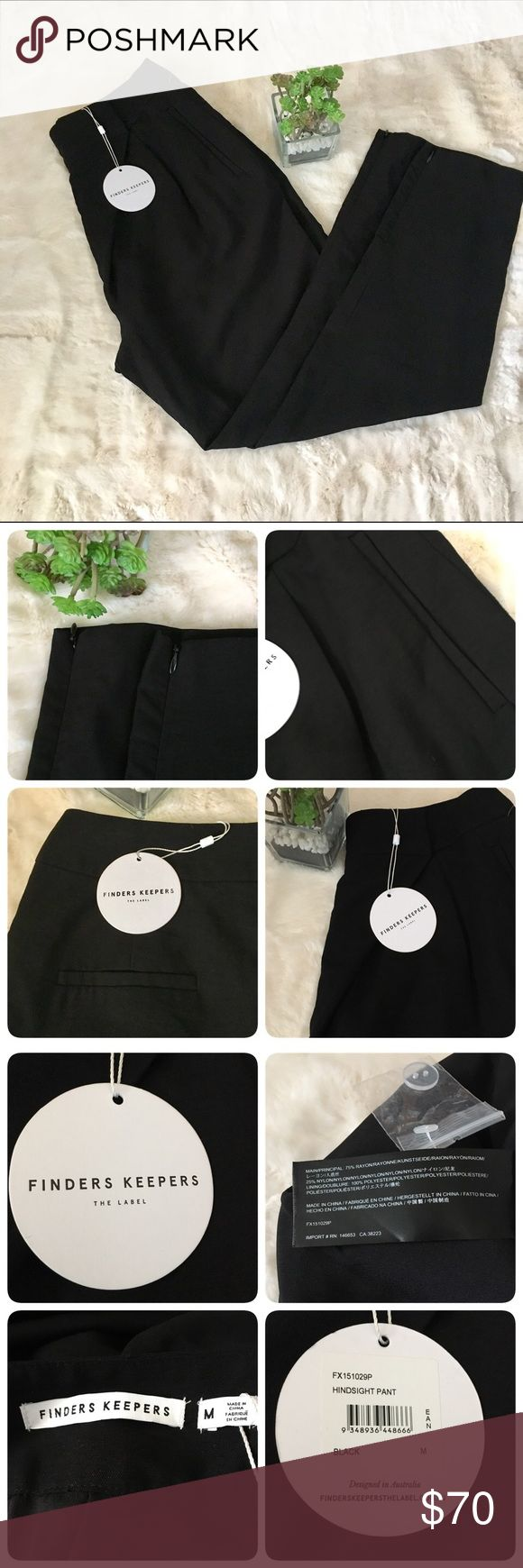 Finders Keepers The Label Hindsight Pants Finders keepers new with tags hindsight black pants. Beautiful urban-chic drop crotch style with a front wrap.Size M, front slit pockets, back welt pockets, tapered legs with  invisible ankle zippers. Finders Keepers Pants Ankle & Cropped