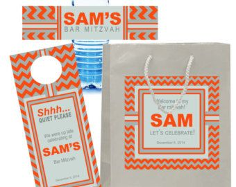 20 Welcome Bag Labels for Bar Mitzvah hotel guest hospitality