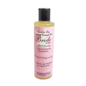 Not Soap, Radio Say It With Suds You're the Most Beautiful Bride bath/shower gel 10.2 oz. by Not Soap, Radio. $13.00. Never tested on animals. Sweet honeysuckle scented. Reads like a greeting card on the back: Wishing you total happiness and all the best on your wedding day.. On the front: Beyond blushing-Can't wait for the honeymoon¿Simply stunning-Only-goods things to come-Throw the bouquet to me-Hope you get everything you registered for¿. natural, shea nut oil-enr...