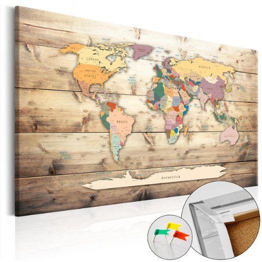 Neuheit! Weltkarte mit Kork Rückwand 90x60 cm - 3 Farben zur Auswahl - einteilig…