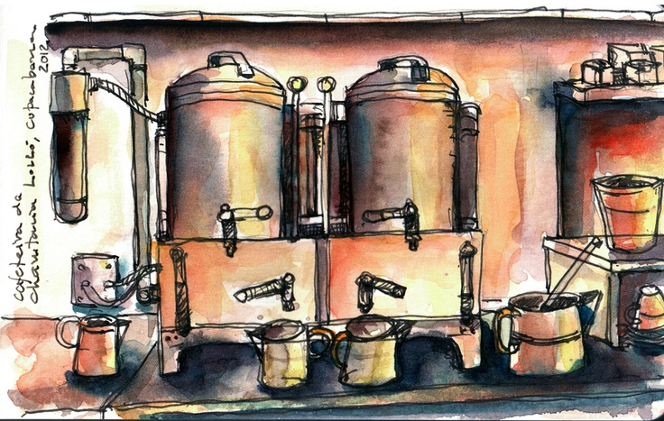 Old Coffee Pot - Charutaria Lolló, Copacabana    Lamy Sarafi Fine Nib with bulletproof black Noodle Ink and Watercolor on watercolor Moleskine (by Angelo Rodrígues)