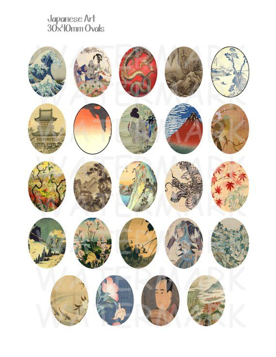 Japanische Kunst – Digital Collage Sheet – 30x40mm Ovale – SOFORTIGER DOWNLOAD