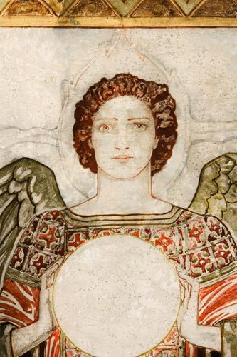 John Duncan (1866-1945) Archangel Uriel.  A panel from the Sneaton Castle Altarpiece.  Tempera on Panel  Prov: Commissioned for the First Chapel at Sneation Castle, Whitby, shortly after it was built in 1919.