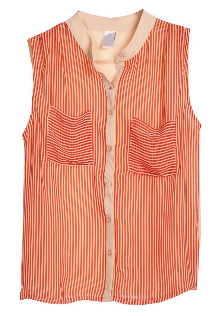 Blusa gasa rayas verticales-Coral EUR16.35