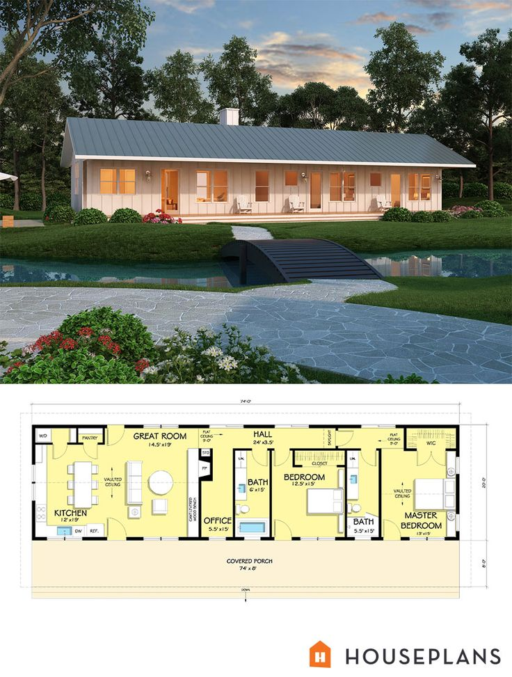 Ranch Style House Plan 2 Beds