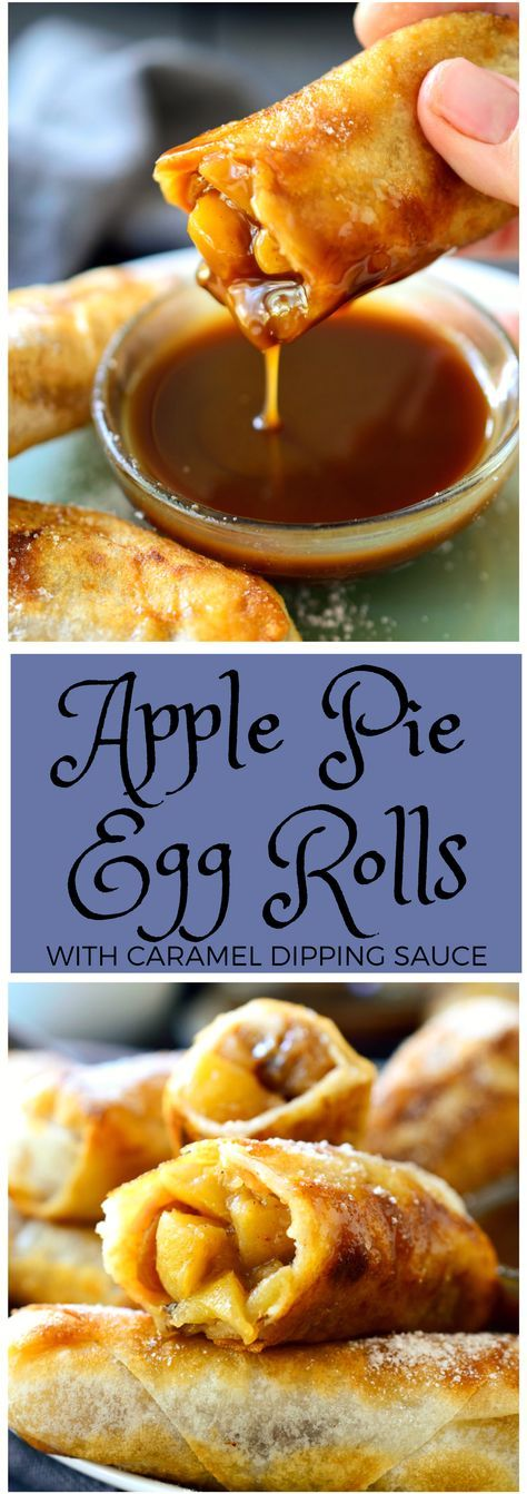 This recipe for vegan apple pie egg rolls is an easy dessert for vegans with a sweet tooth. A simple apple-cinnamon filling wrapped inside spring roll wrappers and served with an addictive two-ingredient vegan caramel sauce. Great for an occasional sweet treat!