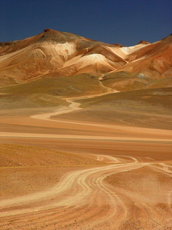 Road tracks, Atacama Desert, Chile http://reversehomesickness.com #atacama #desert