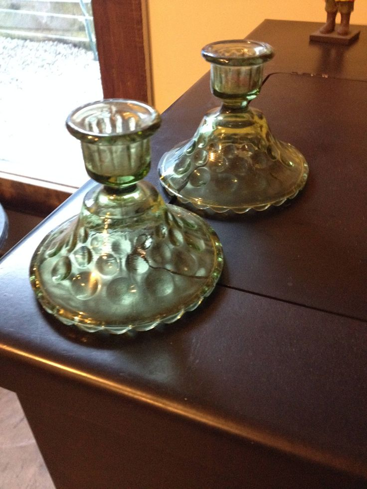Olive Green/ Depression Glass/ Candle Holders/Free Shipping/Hobnail/ Thumbprint/ Bubble Glass by SamsAtticTreasures on Etsy